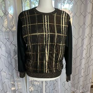 Vintage Vicky Vaughn Black and Gold Top